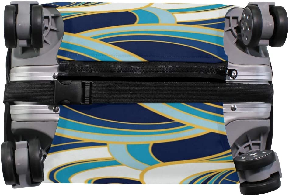 Travel Luggage Cover Oriental Ocean Waves Blue White Suitcase Protector