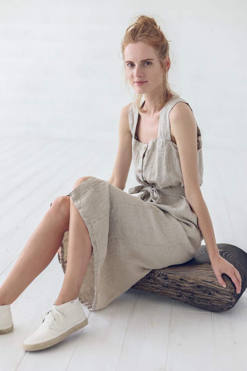 Women midi sleeveless linen dress