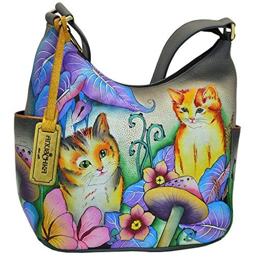 Anuschka Women's Genuine Leather Handbag   Hand Painted Original Artwork   Classic Hobo With Side Pocket   Cats in Wonderland ()