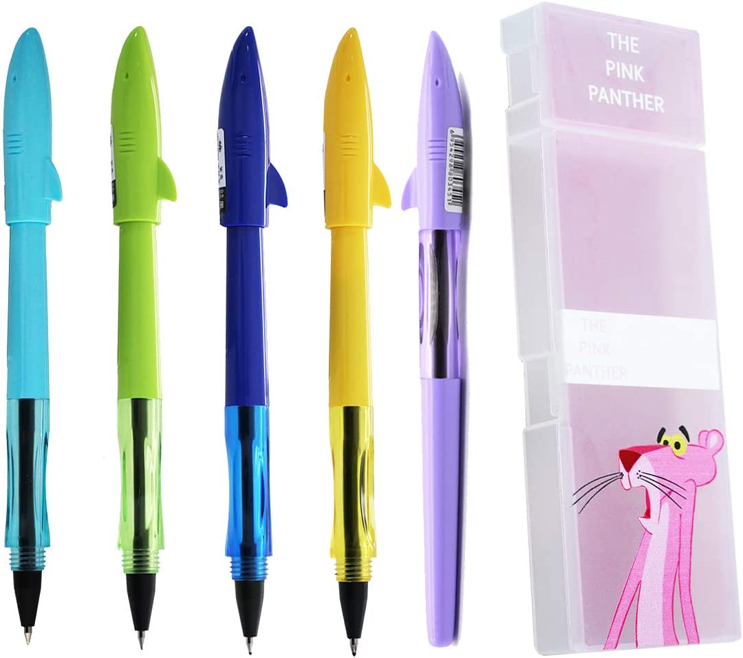 5 Pieces JinHao Disposable Fine Point Gel Ink Pens Diversity Color Shark Pen with Cute Pink Panther Case Set, Black Ink, Liquid Ball Pens for School Office Supplies