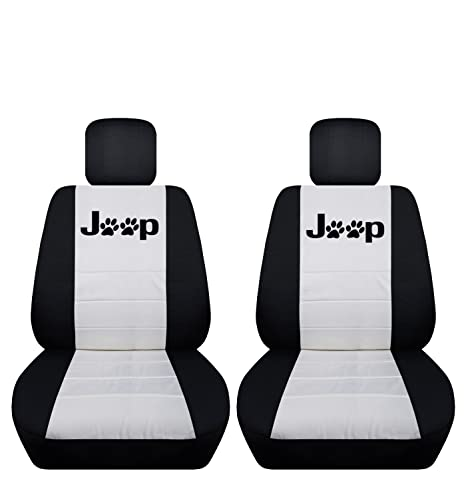 Front Black And White Jeep Paw Print Seat Covers Fits 2011 2017 Wrangler JK