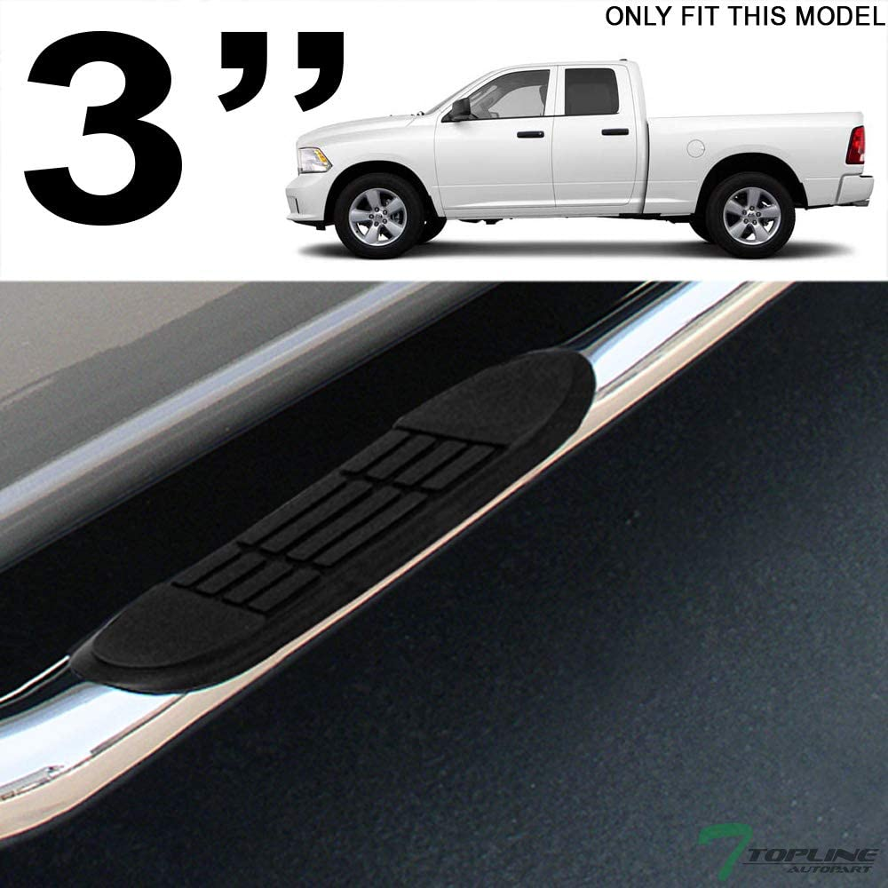 Topline Autopart 3 Polished Stainless Steel Side Step Nerf Bars Rail Running Boards hd For 09-14 Dodge Ram 1500 Quad Extended Cab