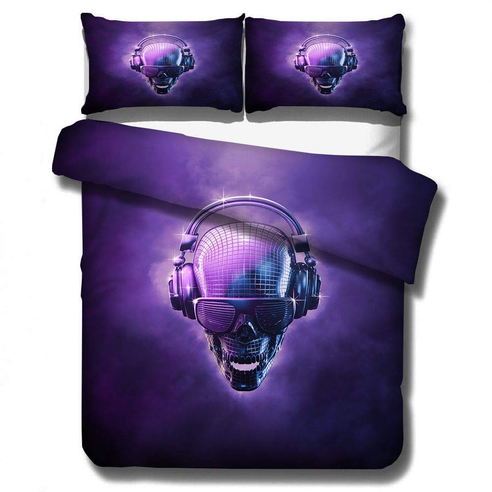 Music Skull Bedding Sets Full Size Teen Kids Punk Rocker Headphones Skull Printed Duvet Cover Set with Zipper Ties Sugar Skull Pattern Decor Bedspread for Adult Boys Rock Style Bedding Quilt Set