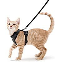 Cat Harness and Leash Set for Walking Escape Proof, Adjustable Small Vest Harnesses for Cats with 59 Inches Leash, Small Kitten Leash Harness with Reflective Strips and 1 Metal Leash Ring, Black, XS