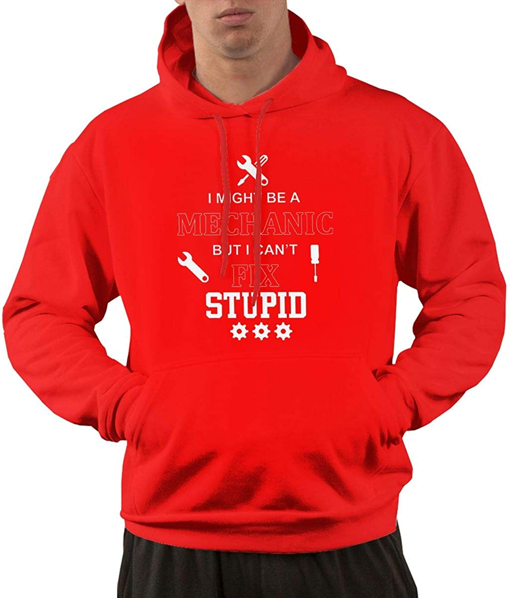 Onesunc I Might Be A Mechanic But I Cant Fix Stupid Sweatershirt for Mens Pullover Hoodies with Front Pocket Black