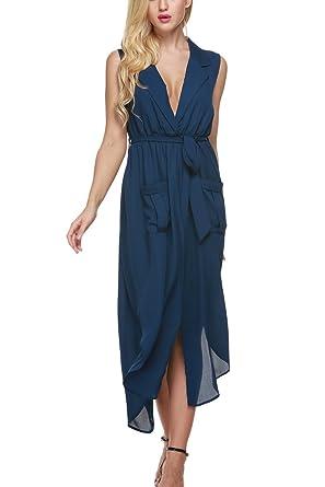 4e44726c577d BLUETIME Women's Casual Sleeveless Lapel High Waist Split Maxi Shirt Dress  (S, Dark Blue