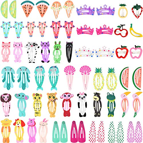 Boao 64 Pieces Hair Clips Barrettes Animal Pattern Metal Snap Hair Pins Cartoon Design Hairpins for Girls Hair - Snap Animal Design