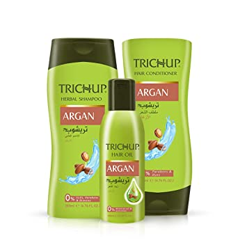 Buy Trichup Argan Hair Care Kit For Soft Shiny Bouncy Hair Oil Shampoo Conditioner Online At Low Prices In India Amazon In