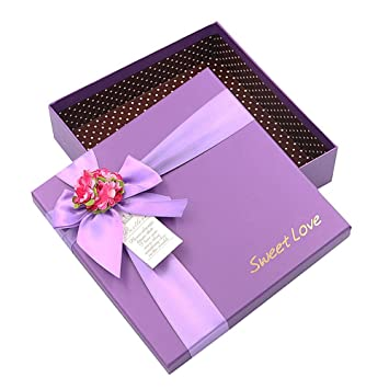 Drasawee Square Shape Gift Boxes Birthday Christmas Wedding Gift Wrap Boxes 8x8x2inch Purple