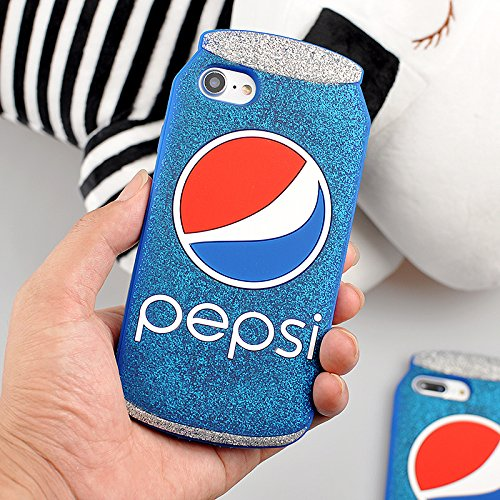 (3D Soft Silicone Blue Pepsi Cola Can Case for iPhone 7 8 iPhone7 iPhone8 4.7 Display Silver Glitter Shockproof Drop Resistant Protective Shiny Unique Bling Cool Special Fun Kids Boys Teens Girls Gift)