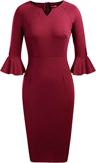 elegantes kleid 3 4 arm rot