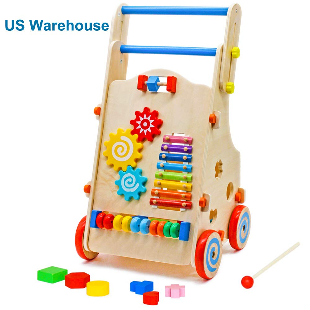 Wooden Baby Walker, Push and Pull Activity Toy Toddler Learning Walking Toys Shopping Cart for Boys and Girls (Height Adjustable 20.47-24.33IN)