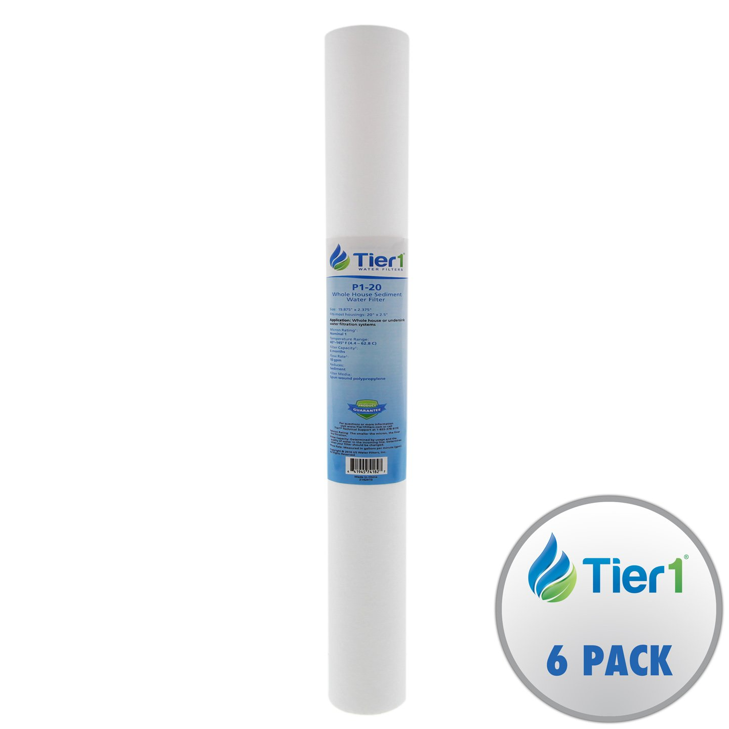 Tier1 P1-20 1 Micron 20 x 2.5 Spun Wound Polypropylene Sediment Purtrex PX01-20 Comparable Replacement Water Filter 6 Pack