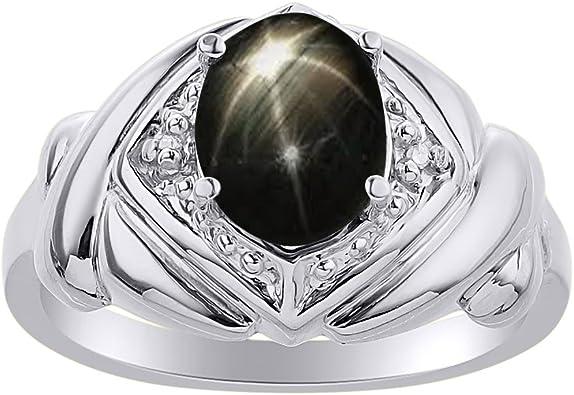 Color Stone Birthstone Ring Diamond /& Black Star Sapphire Ring Set In Sterling Silver XO Hugs /& Kisses