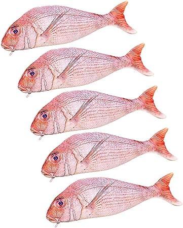 Topdo - Estuche para lápices en Forma de pez Rojo, Bolsa de Almacenamiento con Cremallera, para Oficina de Estudiantes, 23 x 7,8 cm: Amazon.es: Hogar