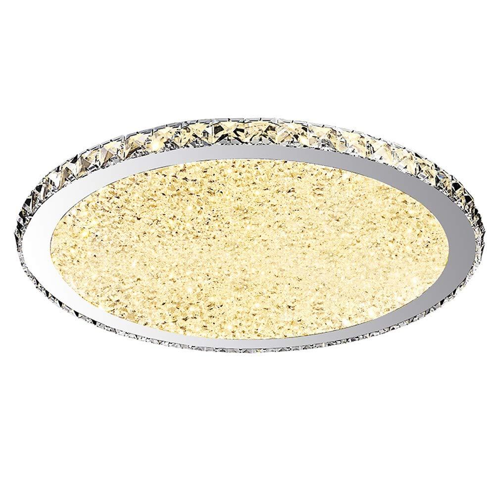 Deckenlampe Kristall Deckenleuchte LED Runde Edelstahl Acryl Lampenschirm Deckenbeleuchtung für Wohnzimmerlampe Schlafzimmerlampe Küchenleuchte Esszimmerlampe Korridor, Warmes Licht, 45cm, 24W
