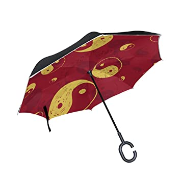 jstel doble capa puede Yin Yang moderno abstracto paraguas coches Reverse resistente al viento lluvia paraguas