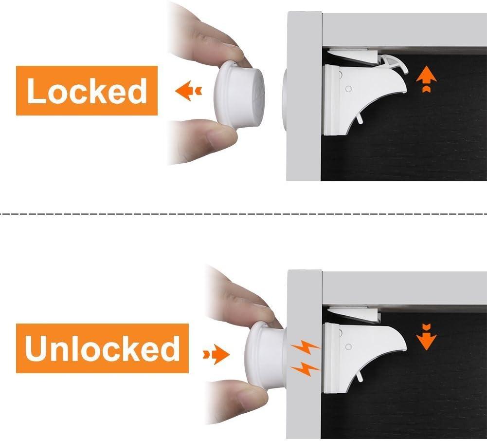 Linkax Bloqueo de Seguridad para Beb/és Cierres de seguridad Para Ni/ños Cerraduras Magn/éticos de Seguridad para armarios Cajones y Puertas 10 cerraduras + 2 llaves