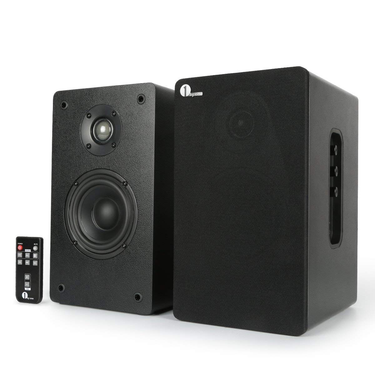 1byone Powered Wireless Classic Bookshelf Speaker with 4'' Woofer and 1'' Tweeter, 2X30W RMS(Black, Pair) (Black)