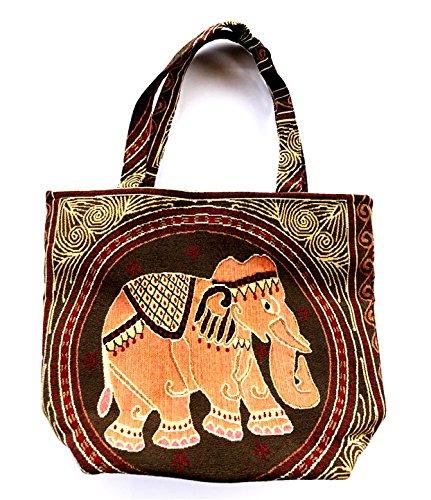 Bag by WP Embroidery Elephant Zipper Bag Handbag Tolebag Sho