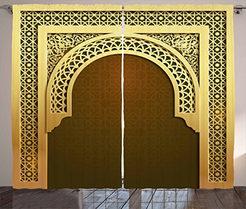 Scroll Room Divider - Ambesonne Moroccan Curtains, Middle Eastern Culture Greeting Scroll Arch Figure Celebration Religious Theme, Living Room Bedroom Window Drapes 2 Panel Set, 108 W X 90 L Inches, Golden Brown