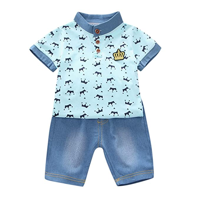 2pcs Toddler Baby Boys T-Shirt Denim Shorts Set Kids Casual Clothes Outfits