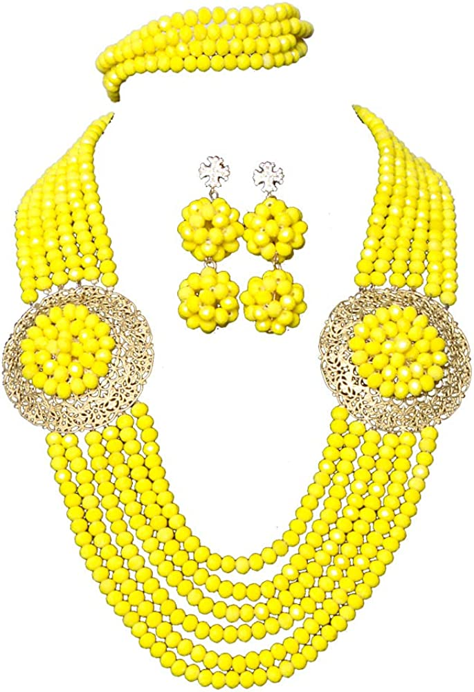 AMYNOVA 6 Rows Yellow African Costume Women Jewelry Set Accessories Crystal Necklace Earrings Sets