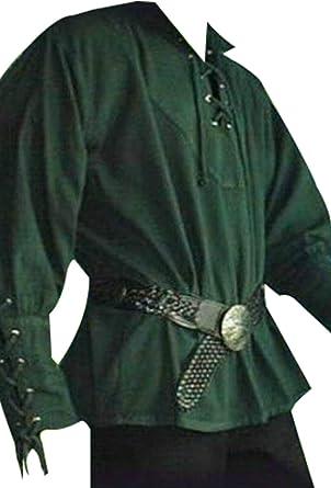 Camisa de Manga Larga Medieval con Cordones para Hombres Disfraz de Pirata Vintage Verde, M: Amazon.es: Ropa y accesorios