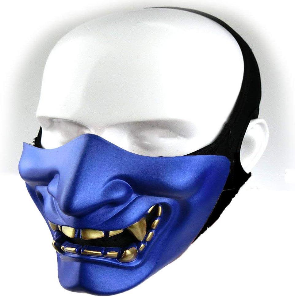 fiestas juegos de guerra malvado monstruo demonio Kabuki Samurai Hannya Oni m/áscara protectora de media cara para bailes de m/áscaras Halloween Aoutacc Airsoft M/áscara de media cara