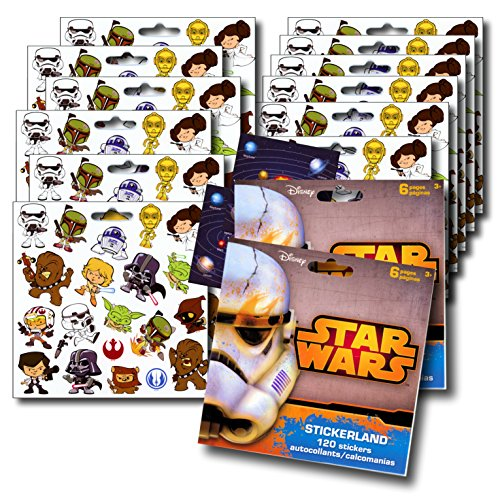 Star Wars Stickers Party Favors ~ Set of 2 Sticker Packs ~ 12 Sheets Over 240 Stickers plus Bonus Reward Stickers! Darth Vader, Stormtroopers, Chewbacca by Disney (Star Wars Tattoos)
