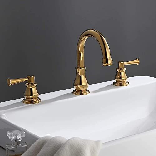 AUXO Brushed Gold 6-12 Widespread Bathroom Sink Faucet 3 Holes 2 Handles Lead-free Solid Brass Gooseneck Bathroom Basin Faucet, Gold Modern Vanity Faucet
