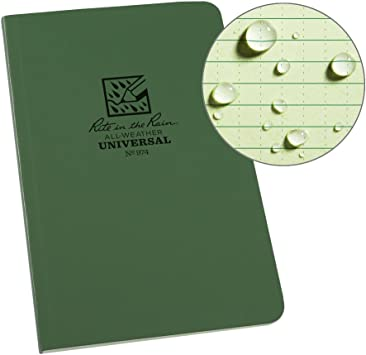 4.7 x 7.25 Inch Rite in the Rain Universal Tactical Writing Note Book Green