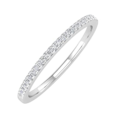 ctw 10K Gold Natural Round Diamond Ladies Wedding Anniversary Stackable Ring 1//10 Carat