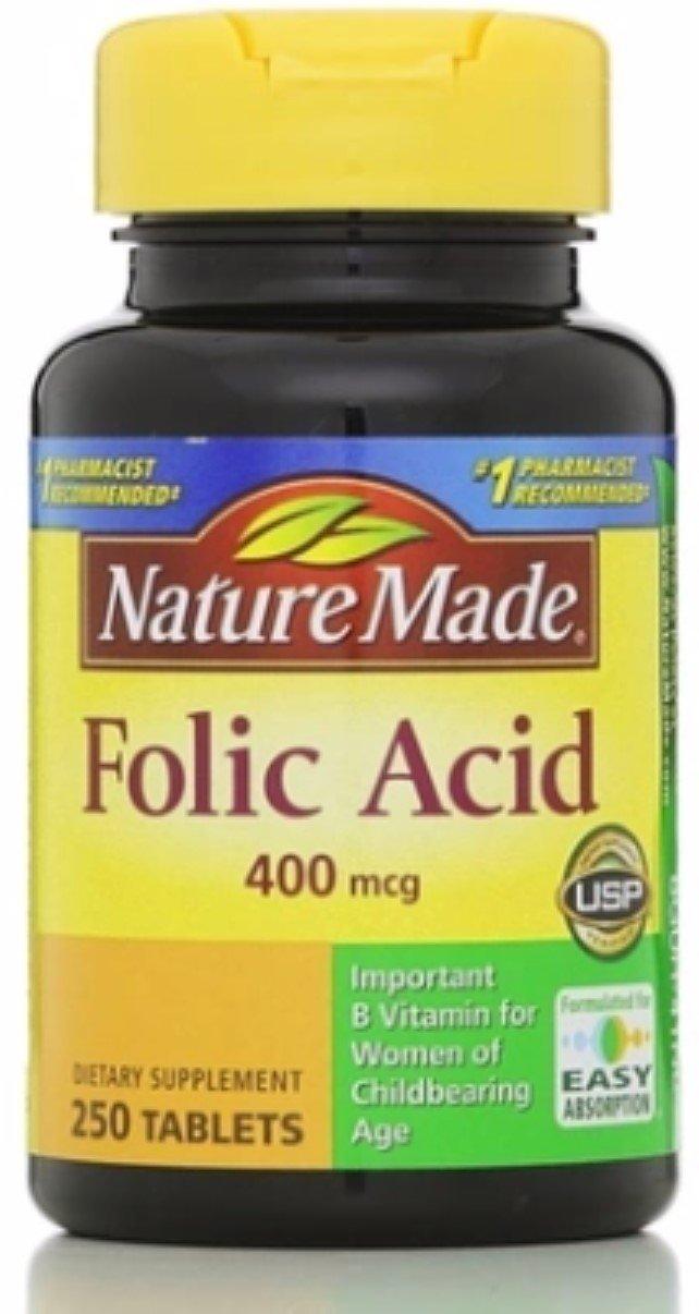 Nature Made Folic Acid 400 mcg Tablets, 250 Tablets