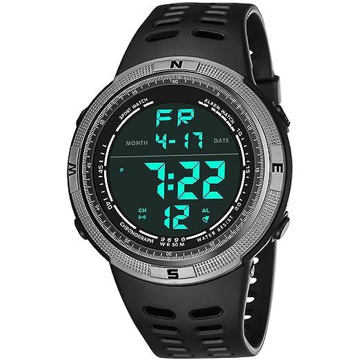 Reloj hombres Reloj Deportivo De Hombre De Moda Electrónico Al Aire Libre Resistente Al Agua Reloj De Gran Tamaño (Color : Gray): Amazon.es: Relojes