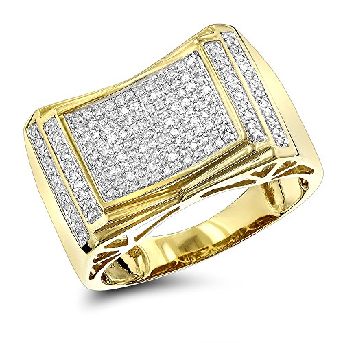 Luxurman 10K Pave Set Natural 0.5 Ctw Diamond Ring For Men (Yellow Gold Size 7.5)