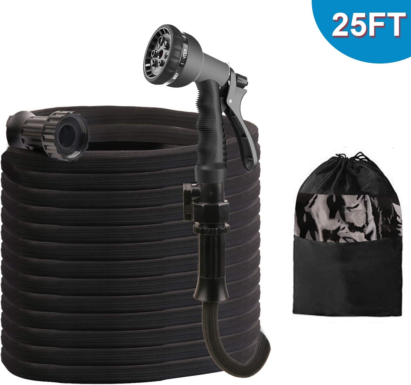 ActionEliters Expandable Garden Hose, Flexible Water Hose 8 Functions Hose Nozzles with Lightweight Triple Latex Core and Advanced Strength Fabric Protection for Outdoor Gardening (25ft, Black)