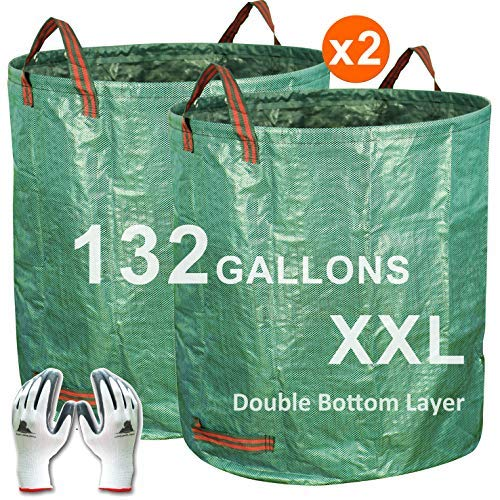 Gardzen 2-Pack 132 Gallons Gardening Bag with Double Bottom Layer - Extra Large Reuseable Heavy Duty Gardening Bags, Lawn Pool Garden Leaf Waste Bag, Comes with Gloves ()