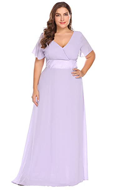 Zeagoo Womens Plus Size Chiffon V Neck Short Sleeve Maxi Formal