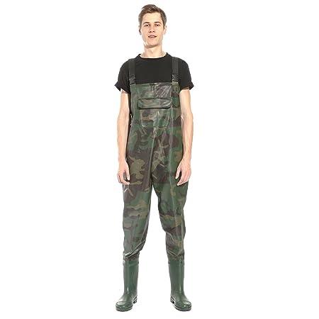 CLE DE TOUS - PVC Bota Transpirable Pecho Vadeadores de Pesca Pantalones de Pesca Talla 42 43 44 Impermeable Camuflaje (9 (43))