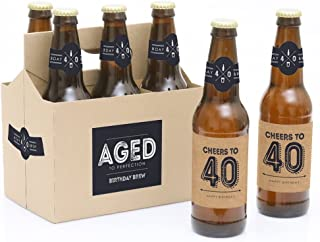 product image for 40th Milestone Birthday - Dashingly Aged to Perfection - Birthday Party Decorations for Men - 6 Beer Bottle Label Stickers and 1 Carrier