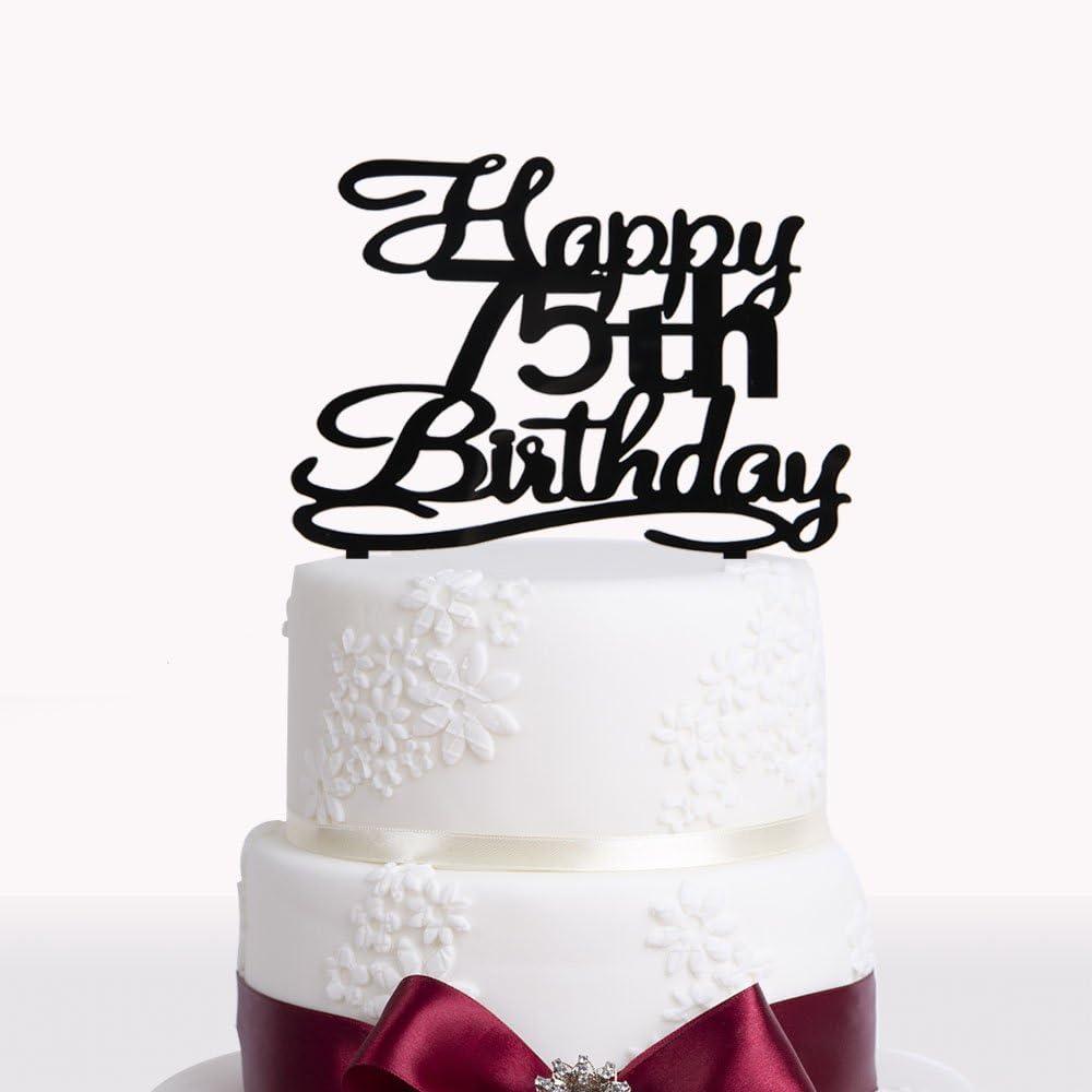 Groovy Amazon Com Happy 75Th Birthday Cake Topper Black Acrylic Cake Funny Birthday Cards Online Elaedamsfinfo