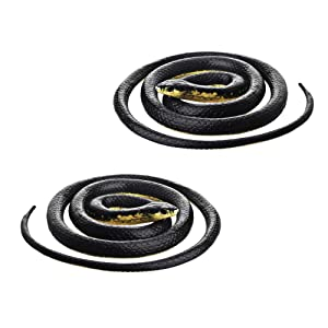 DE-Realistic Rubber Black Mamba Snake Toy 52 Inch Long,Set of 2