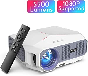 Projector, COOAU 5500 Lumens Home Video Projector, Support 1080P and 200