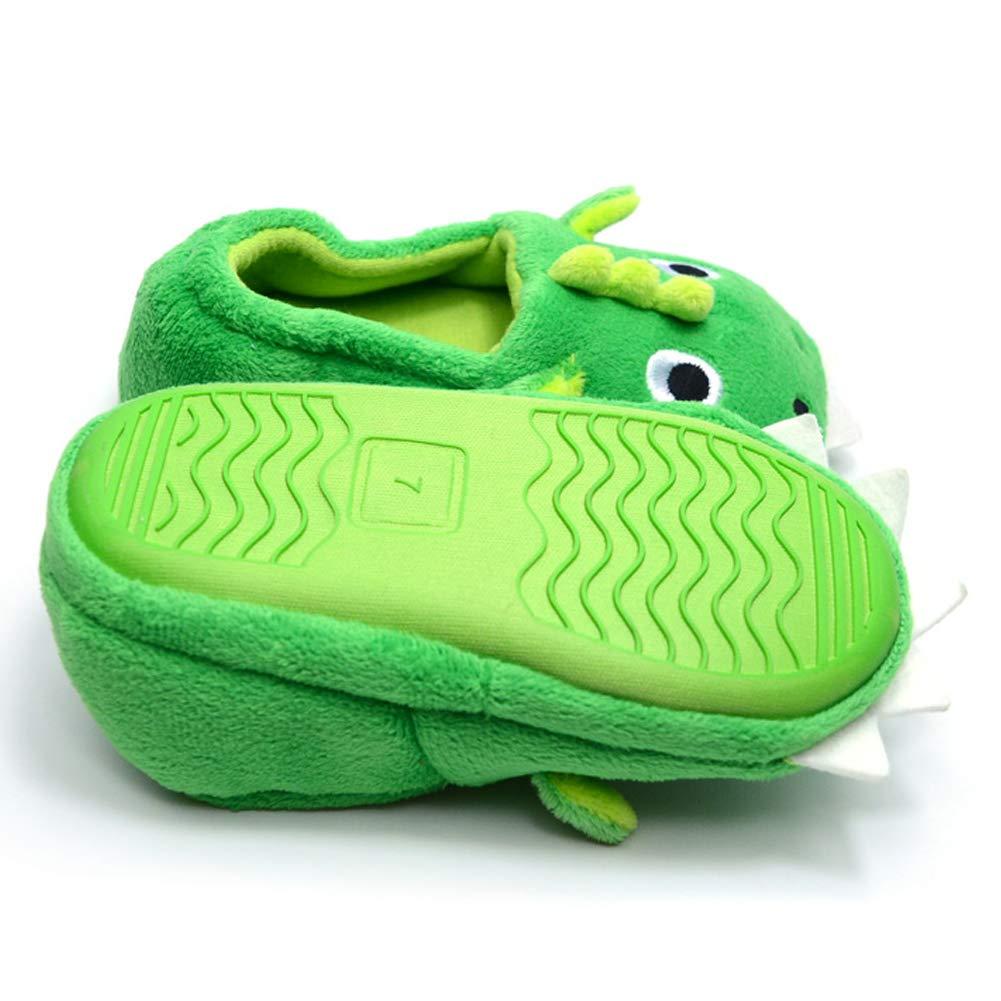 Green Dinosaur TARA SHOES Winter Kids Cartoon House Shoes Boy Girls Indoor Anti-Slip Fluffy Slippers