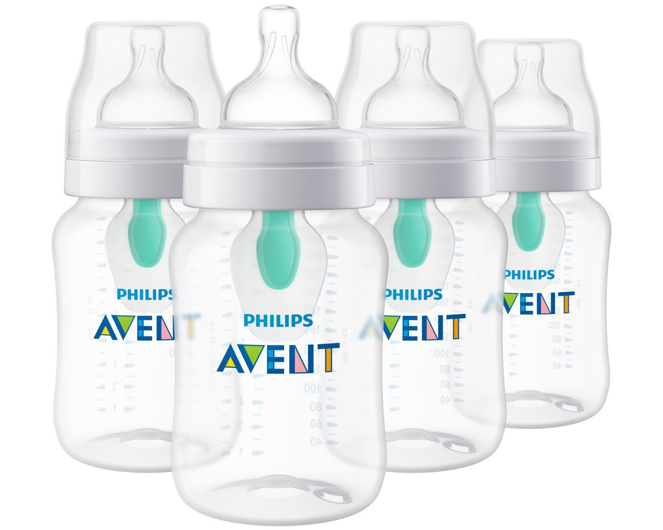 Philips Avent Anti-colic Baby Bottle with AirFree vent, Clear, 9oz, 4pk, SCF403/44 by Philips AVENT