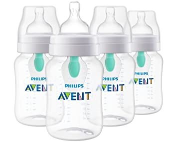 60aba039cccb Philips Avent Anti-colic Baby Bottle with AirFree vent, Clear, 9oz, 4pk,  SCF403/44