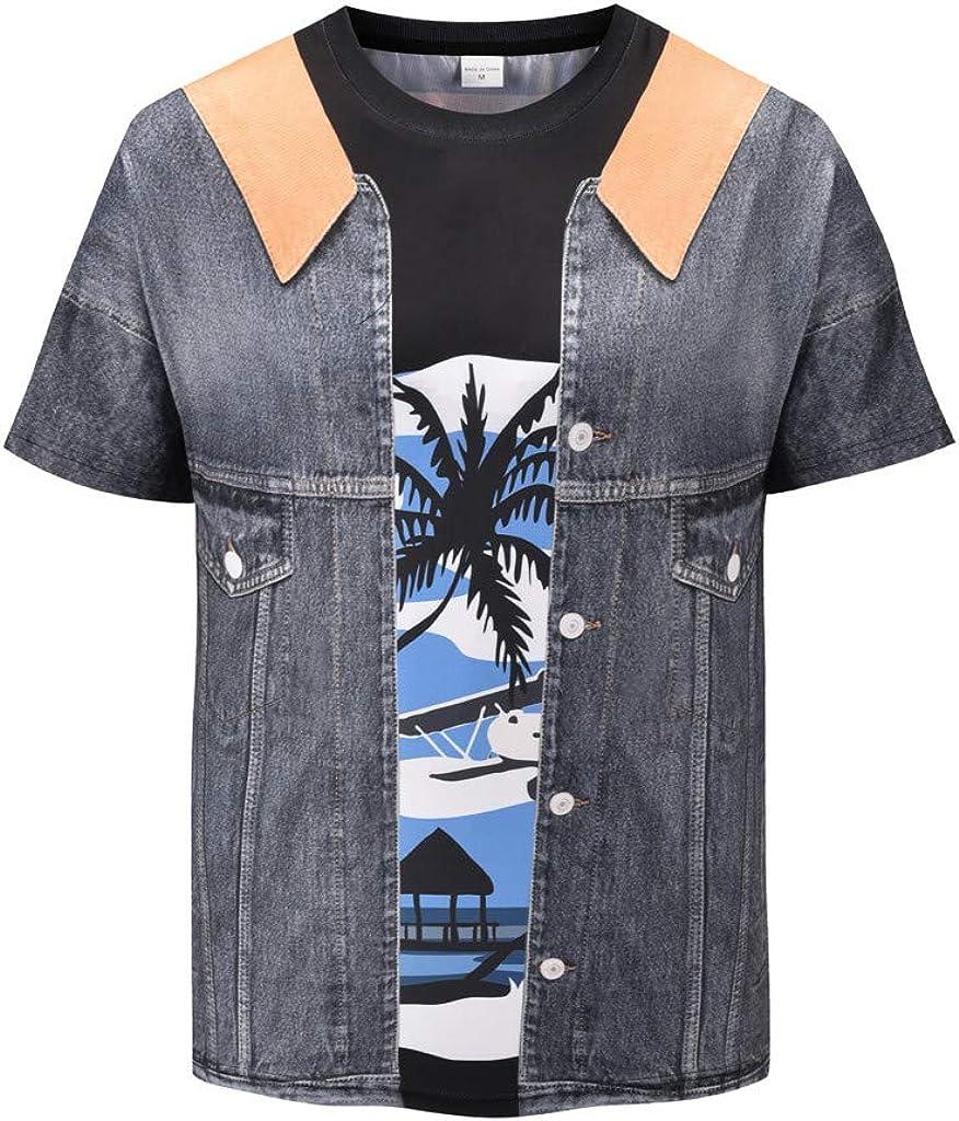 Palarn Mens Fashion Sports Shirts Personality Mens 3D Print Whale Casual Slim Short-Sleeved Shirt Top Blouse
