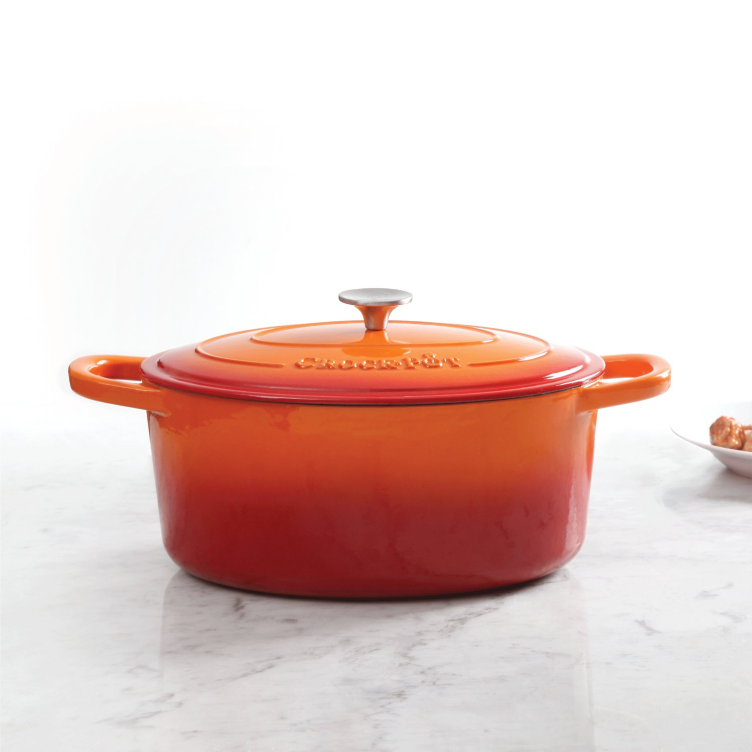 Crock Pot 109470.02 Artisan Enameled Cast Iron 7-Quart Oval Dutch Oven, Sunset Orange by Crock-Pot (Image #2)