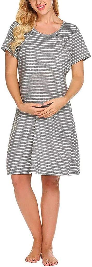 Conquro Vestido de Lactancia Multifuncional con bot/ón de Rayas de Manga Corta para Mujeres Embarazadas Casual Embarazo Ropa Maternidad Suave y Comodo para Muje